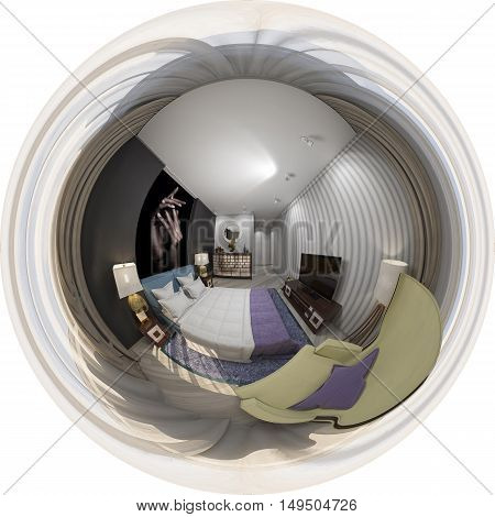 3d illustration of interior design spherical 360 degrees seamless panorama of bedroom
