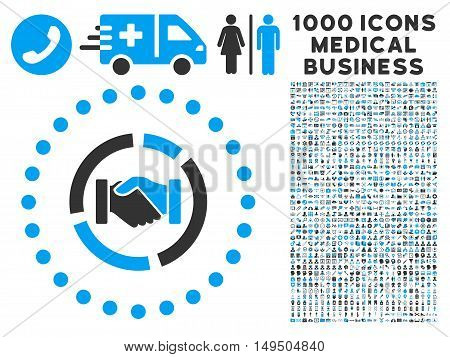 Acquisition Diagram icon with 1000 medical commerce gray and blue glyph design elements. Collection style is flat bicolor symbols white background.