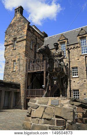 Statue Of Field Marshal Douglas Haig In Edinburgh Castle In Edinburgh, Scotland