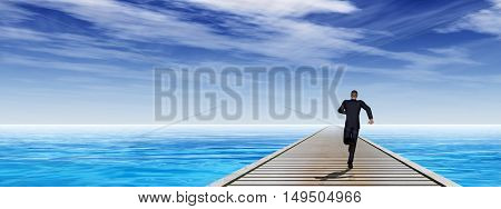 Conceptual 3D illustration of old wood deck pier on coast of exotic blue sea or ocean waves with a businessman running, sky background banner