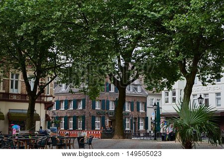 KEMPEN, GERMANY - JULY 13, 2016: The historic market place build s the centre of the town.