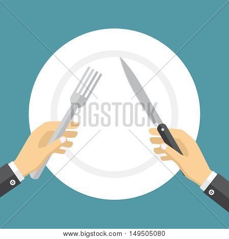 Empty plate and hands holding knife and fork on the blue background.
