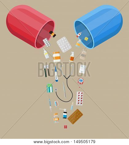 capsule pharmaceutical with different pills and medical devices inside, Pill and care healthy, healthcare. vector illustration in flat style isolated on brown background