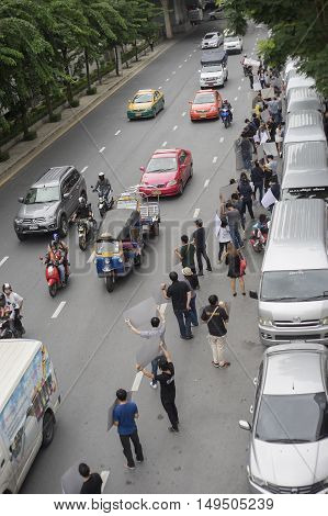 Bangkok Thailand : september 26 2016 - ford's car user get a flash mob at Ford Motor Company Thailand at Sathorn Square office tower to call for justice about gear problem in ford fiesta car,Deception customer of by ford thailand company