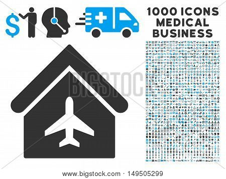 Aircraft Hangar icon with 1000 medical business gray and blue glyph pictographs. Collection style is flat bicolor symbols white background.