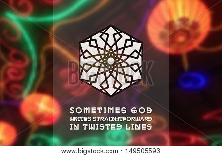 Asian religious ornament. Vector geometric design on blurred background