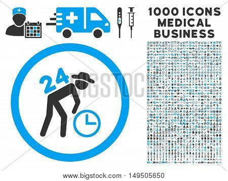 Around the Clock Work icon with 1000 medical commerce gray and blue glyph pictographs. Collection style is flat bicolor symbols white background.