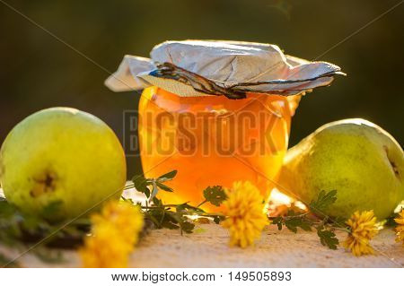 Pear Jam In Jar And Fresh Pears On Nature. Fresh Sweet Fruit Del