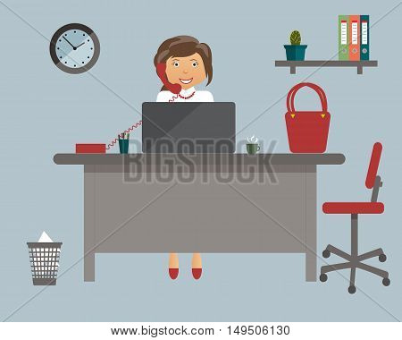 Businesswoman in the working place in the office on blue background. Vector illustration. Table, clock, red bag, shoes, chair, telephone.