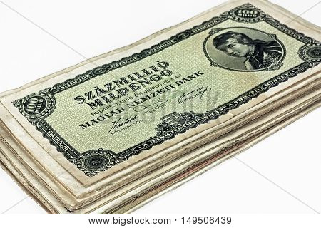 Old Hungarian hundreds of millions pengo currency and others money isolated on white background