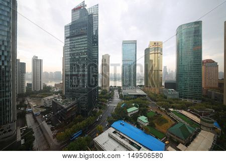 SHANGHAI, CHINA - NOV 7, 2015: Morning city, Shanghai - financial and commercial center of China