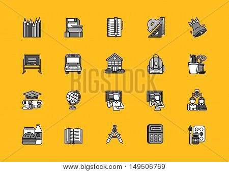 Set of school thin, lines, outline, strokes icons. Items for school study, pencil, bag, breakfast, dividers, globe student, bell black on yellow background. For web and mobile applications