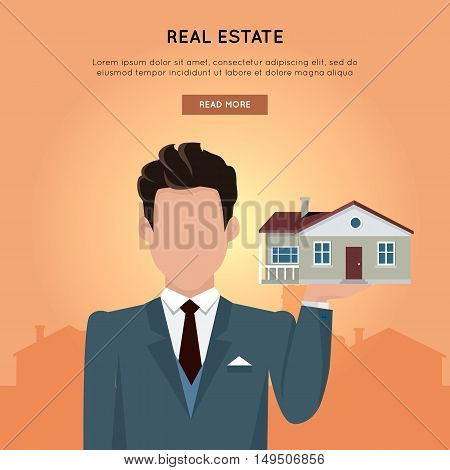 Real estate vector web banner in flat design. Businessman character holding house in hand. Realtor.  Illustration for real estate company web page design, advertising, housing concepts.