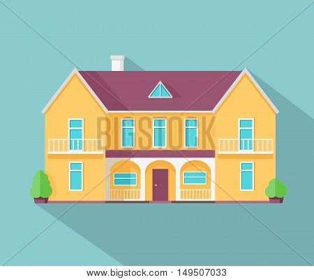 Happy house with terrace banner poster template. Exterior home icon symbol. Residential cottage. Part of series of modern buildings in flat design style. Real estate concept. Vector
