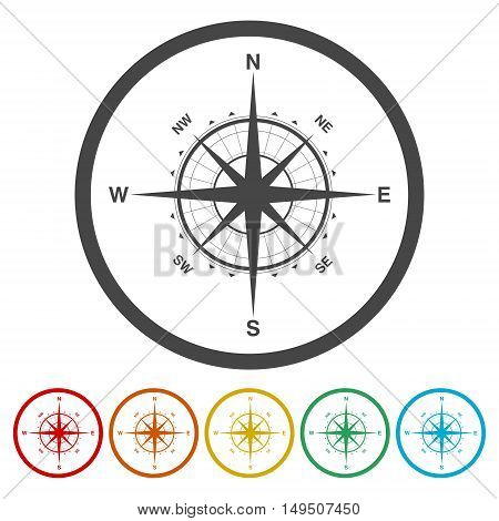 Compass sign icon. Windrose navigation symbol on white background