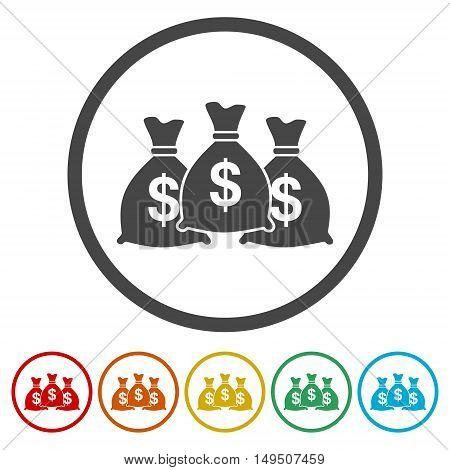 Money bag sign icon. Dollar USD currency symbol.