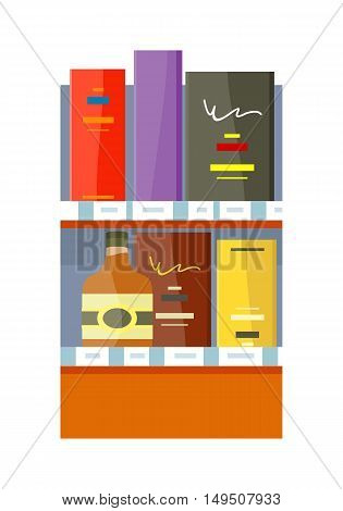 Alcohol in store concept vector in flat style. Shelf with bottles and boxes with drinks illustration for beverages concepts, grocery store advertising,  Isolated on white background.