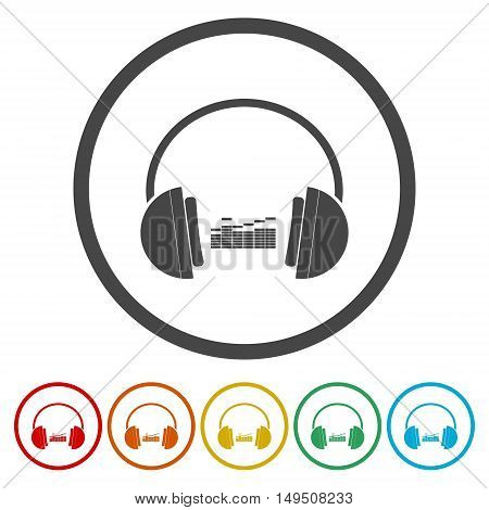 Vector music concept - headphones icon set on white background