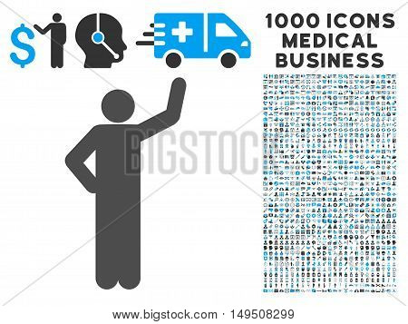 Assurance Pose icon with 1000 medical commerce gray and blue glyph pictograms. Design style is flat bicolor symbols white background.