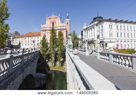 Ljubljana, Slovenia - September 24, 2016: Preseren Square In Ljubljana City. Ljubljana Is A Capital