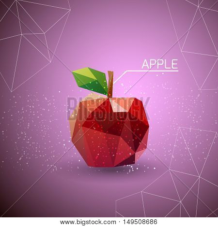 The red apple. Juicy apple polygon . Vector illustration