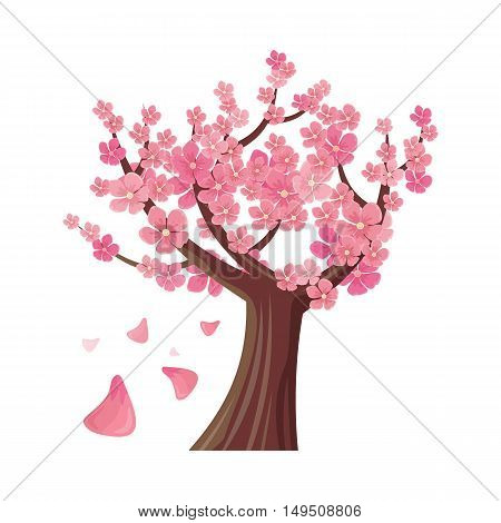 Sakura tree isolated on white. Full blossom of traditional asian cherry tree, with falling petals. Japanese cherry, Prunus serrulata. Cherry blossom. National flower of Japan. Pink flowers. Vector