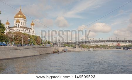 Moscow Russia -September 06 2016: Christ Temple Saviour. Workers are repairing work on the waterfront