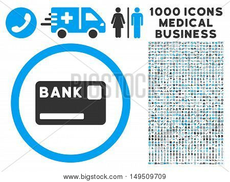 Bank Card icon with 1000 medical commerce gray and blue glyph pictographs. Set style is flat bicolor symbols white background.
