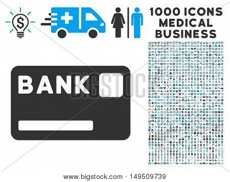 Bank Card icon with 1000 medical commerce gray and blue glyph pictograms. Collection style is flat bicolor symbols white background.