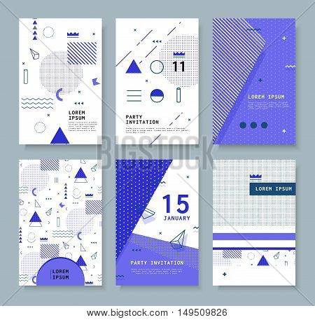 Set abstract invitation with geometric shapes. Covers for books, postcards, notebooks, cover magazines. Hipster posters.