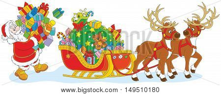 Santa Claus carrying a pile of Christmas gifts to load his sleigh