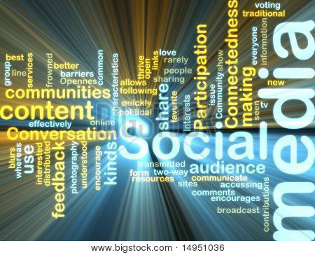 Word cloud tags concept illustration of social media glowing light effect