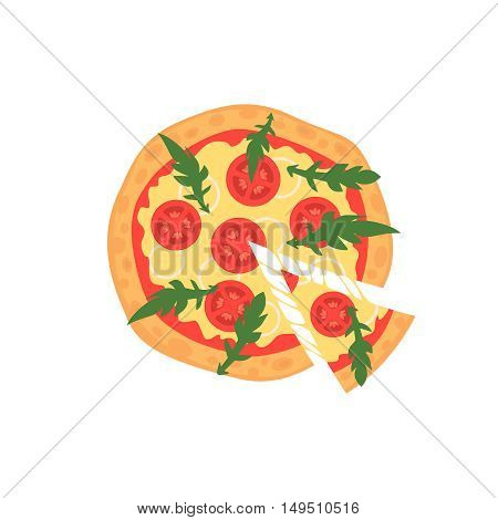 Hot pizza slice with melting cheese isolated on white. Vector illustration of margherita. Cartoon style