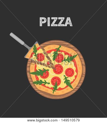 Margherita pizza on wooden board on black table. Slice with melting cheese. Vector illustration. Tomatoes and arugula. Top view