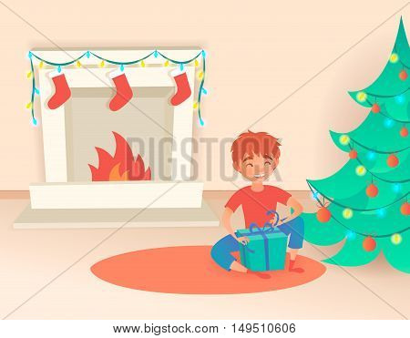 Boy with gift. Christmas or New Year. Near the decorated tree and fireplace. Vector illustration. Cute cartoon stylized child