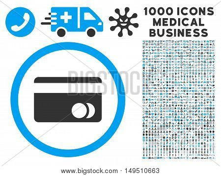 Banking Card icon with 1000 medical commercial gray and blue glyph design elements. Collection style is flat bicolor symbols white background.