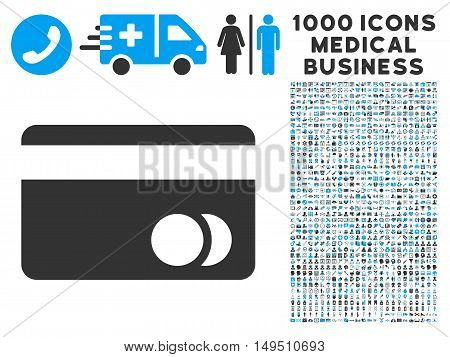 Banking Card icon with 1000 medical business gray and blue glyph pictograms. Clipart style is flat bicolor symbols white background.