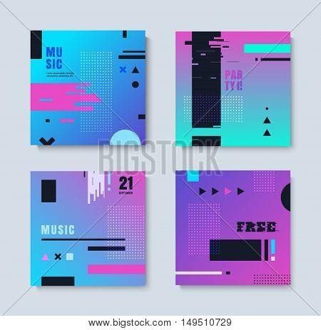 Set invitations effect glitch. Abstract set of invitation with geometric elements. You can use the kit for flyers, leaflets, T-shirts, party.