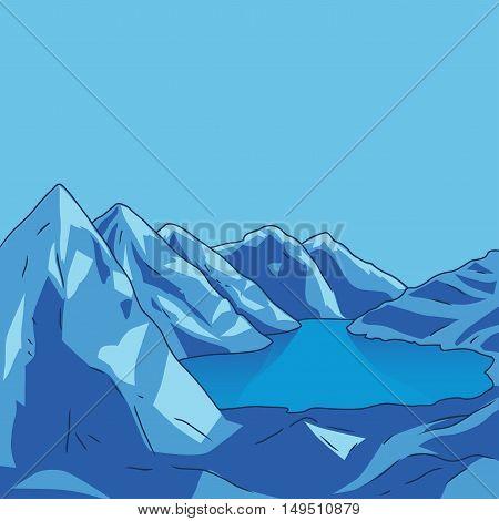 Blue mountain landscape. Glacial lake. North landscape. Vector modern illustration