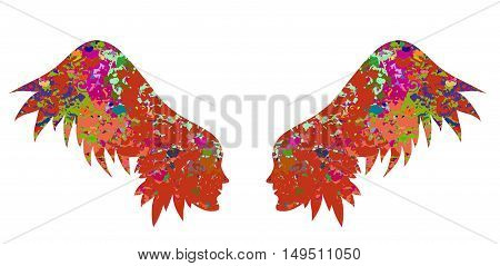 Wings with a beautiful texture a decorative element may serve as decorations for the wedding card banner beauty salon or an original print for clothes