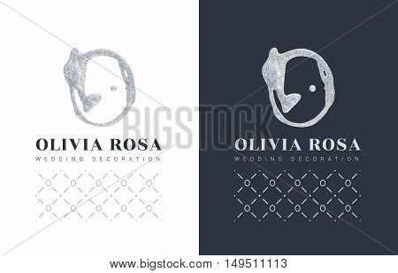 Luxury logo with a stylized letter O on a black background. letter with glitter. Handmade brush trace. The sign for a beauty salon, boutique, shop. With elements of the pattern.