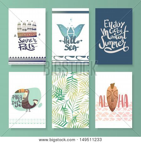 Vector set of bright summer card. Beautiful lettering lettering. Cards with animals illustrations.