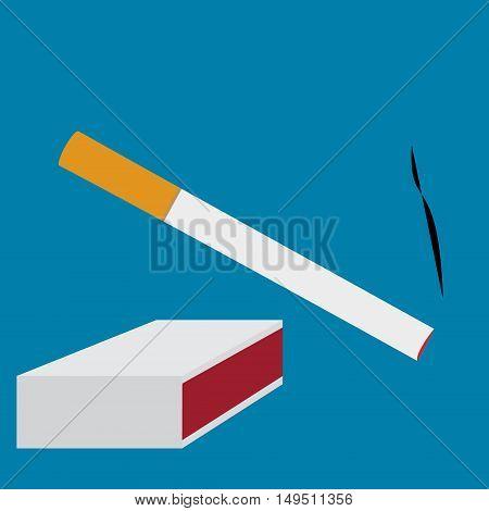 Cigarette Smoke And Matchbox Set Vector Illustration