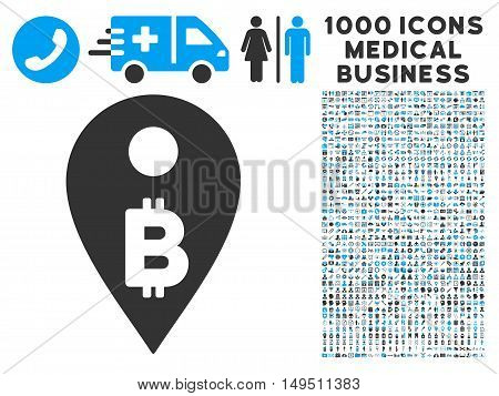 Bitcoin Map Marker icon with 1000 medical business gray and blue glyph pictographs. Clipart style is flat bicolor symbols white background.