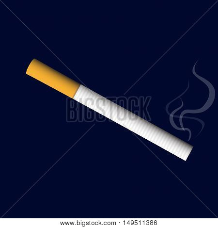 Isolated Classical Cigarette Realistic Smoke Vector Illustration