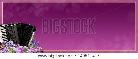 Musical banner with an accordion in purple tones.