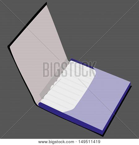 blue open full cigarette case isolated vector illustration