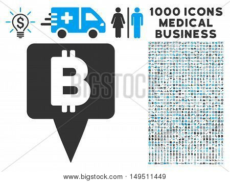 Bitcoin Map Pointer icon with 1000 medical commerce gray and blue glyph pictograms. Set style is flat bicolor symbols white background.