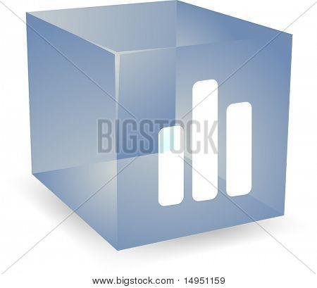 Bar chart icon on translucent cube shape illustration