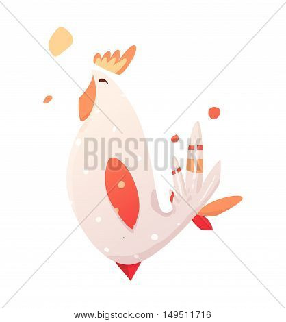 Children's illustration of a rooster. Rooster symbol 2017. Vector illustration for banner or T-shirts. Bird with bright character.